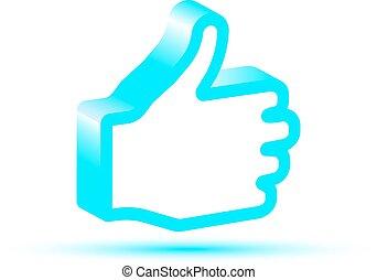 Blue Like hand icon. Like hand vector. Like hand symbol....