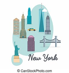 New York City. Travel map and vector landscape of buildings...