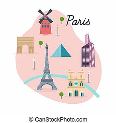 Paris. Travel map and vector landscape of buildings and...