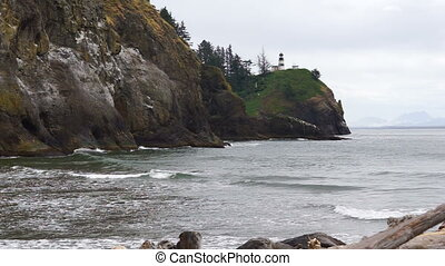 Pacific Ocean Cape Disappointment Lighthouse Waves Crashing...