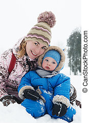 mother and son in winter
