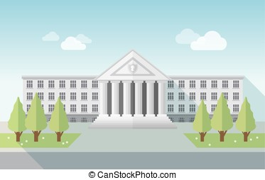 Front view of university or government building in flat...
