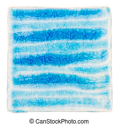 Handmade glazed ceramic tile - Blue lined handmade glazed...