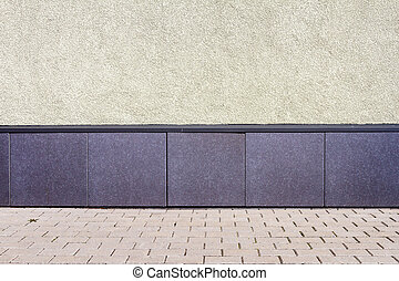 Modern yellow plaster street wall background