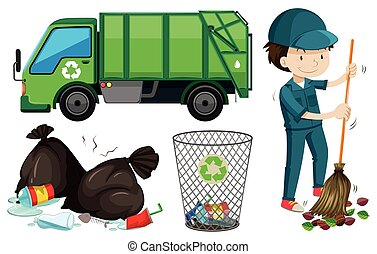 Set of garbage truck and janitor illustration