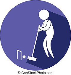 Croquet icon on blue badge illustration