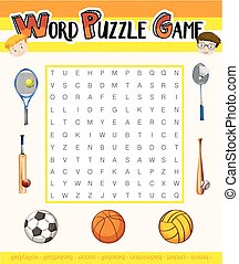 Word puzzle game with sport theme illustration