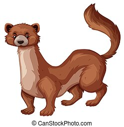 Wild mongoose with brown fur illustration