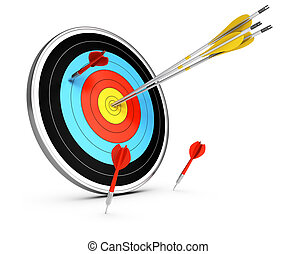 Outperform Competitors - 3D illustration of three arrows...