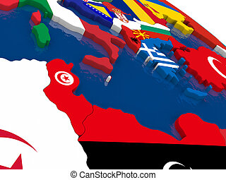 Tunisia on 3D map with flags - Map of Tunisia with embedded...