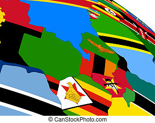 Zambia on 3D map with flags - Map of Zambia with embedded...