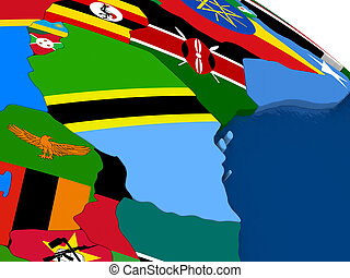 Tanzania on 3D map with flags - Map of Tanzania with...