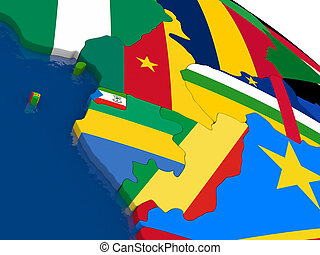 Cameroon, Gabon and Congo on 3D map with flags - Map of...