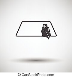 Wipe car window icon on gray background, round shadow Vector...