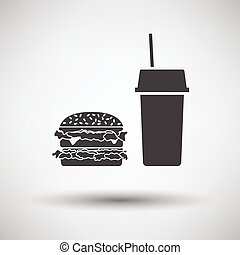 Fast food icon on gray background, round shadow Vector...