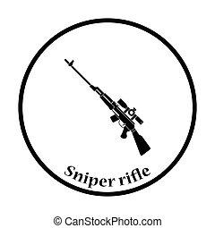 Sniper rifle icon Thin circle design Vector illustration