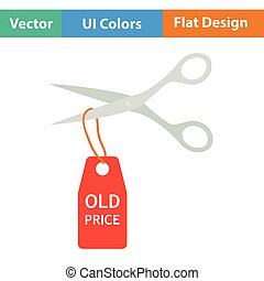 Scissors cut old price tag icon Flat design Vector...