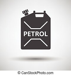 Fuel canister icon on gray background, round shadow. Vector...