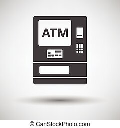 ATM icon on gray background, round shadow. Vector...