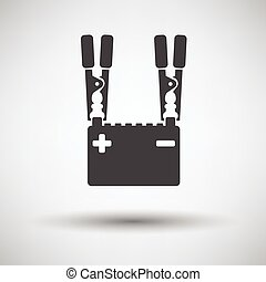 Car battery charge icon on gray background, round shadow...