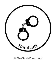 Handcuff icon Thin circle design Vector illustration