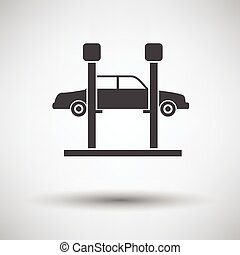 Car lift icon on gray background, round shadow Vector...