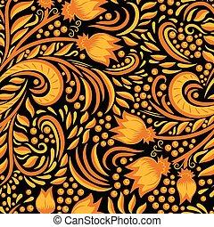 Khokhloma decorated seamless texture