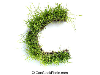 Letters made of grass - C