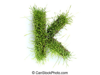 Letters made of grass - K