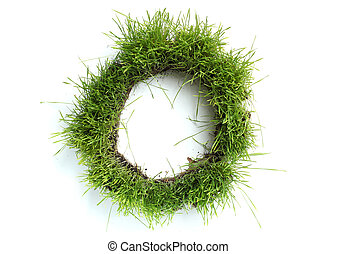 Letters made of grass - O