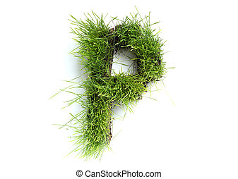 Letters made of grass - P