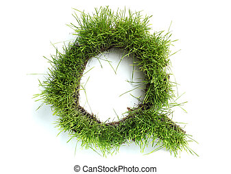 Letters made of grass - Q