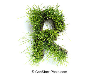 Letters made of grass - R