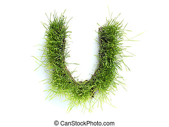 Letters made of grass - U