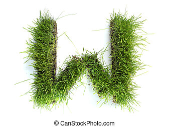 Letters made of grass - W