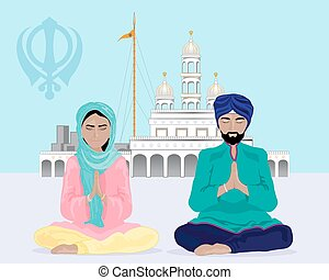 sikh devotion - a vector illustration in eps 10 format of a...