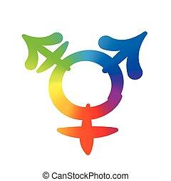 Transgender Symbol Rainbow Gradient - Transgender symbol -...