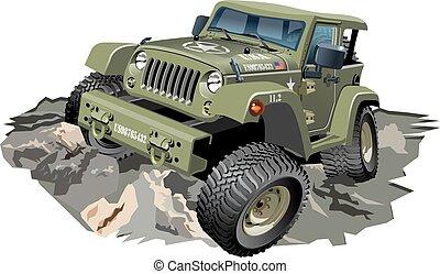 Vector Cartoon 4x4 car - Vector Cartoon military 4x4 car...