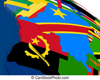 Democratic Republic of Congo on 3D map with flags - Map of...