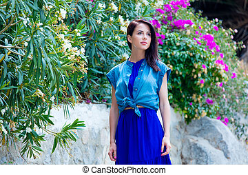 young woman in Greece - portrait of the beautiful young...