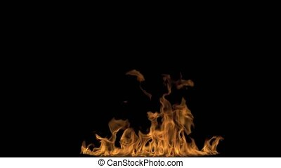 Igniting Fire Isolated on Black Background. - 4k Igniting...
