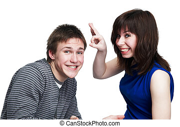 young funny couple of people