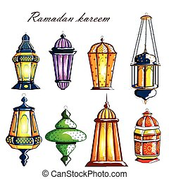 Decorated Arabic lantern for Ramadan Kareem