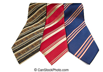 man stripped ties isolated - Set of man colorful stripped...