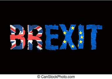Brexit Text Isolated Brexit cracks Text Isolated United...