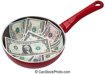 Banknotes of dollars on a frying pan. Isolated on white...