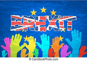 Brexit Text Isolated art vector colorfull hand art