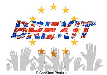 Brexit Text Isolated art vector hand flag of the European...