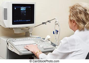 médico, Utilizar, Ultrasonido, Sistema