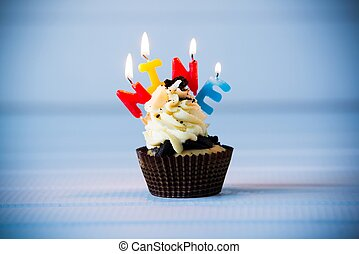 cupcake with a candles for 9 - ninth birthday - Birthday's...